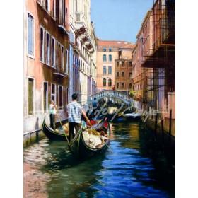 Queue of Gondolas, Venice
